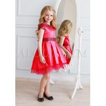Платье нарядное коралловое с асимметричным подолом Элизабет