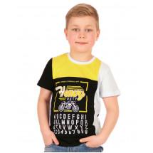 """Футболка для мальчиков черная с желтым """"Мото"""""""