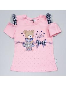 """Футболка розовая для девочек с оборками """"Мишутка"""""""