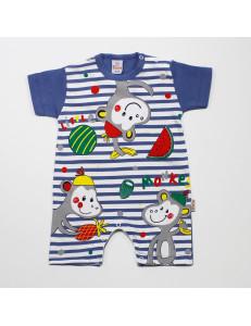 Песочник для малышей в синюю полоску с обезьянками